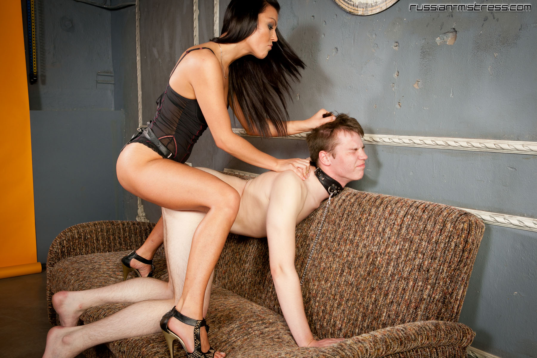 Mistress slaps her slaves big tits 3